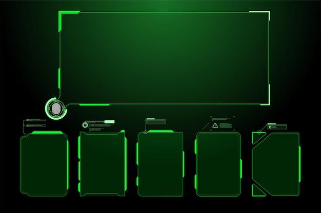 未来のhudインターフェイス画面。デジタル吹き出しのタイトル。 hudのui gui未来的なユーザーインターフェイス画面の要素を設定します。ビデオゲームのハイテク画面。 sfコンセプトデザイン。