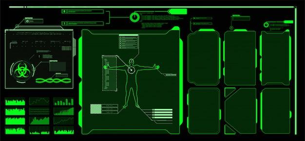 Футуристический экран интерфейса hud. названия цифровых выносок. hud ui gui набор элементов экрана футуристический пользовательский интерфейс. высокотехнологичный экран для видеоигр. научно-фантастическая концепция дизайна.