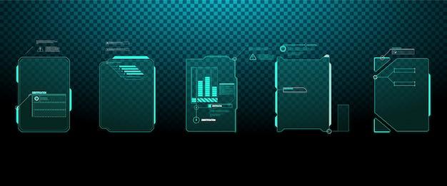 未来的なベクトルhudインターフェイス画面のデザイン。デジタル吹き出しのタイトル。 hud ui gui。