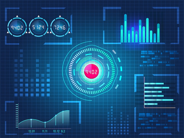 ビジネスアプリ、未来的なユーザーインターフェイスhud、青いグリッド背景上のインフォグラフィック要素のhud ui。