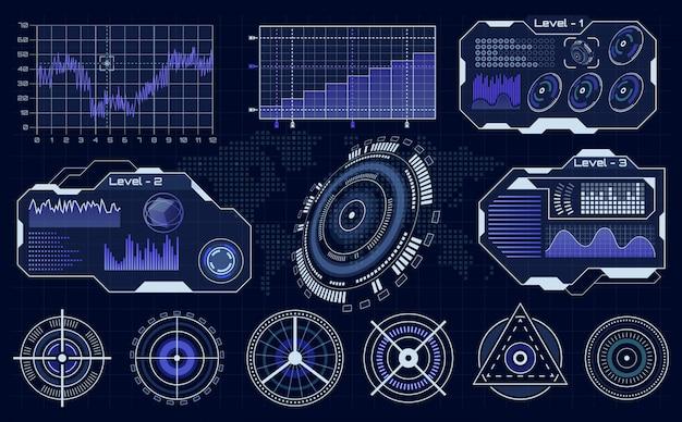 未来的なhudインターフェイス。技術的なhudホログラム、読み込み中の診断表示、デジタルインフォグラフィックui要素セット。バーチャルリアリティデバイスの視覚化、ゲームのインタラクティブコントロールパネル