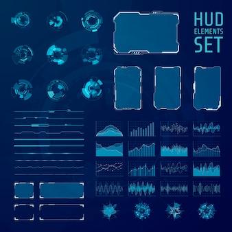 Hud要素のコレクション。グラフィック抽象的な未来的なhudのパネルのセット