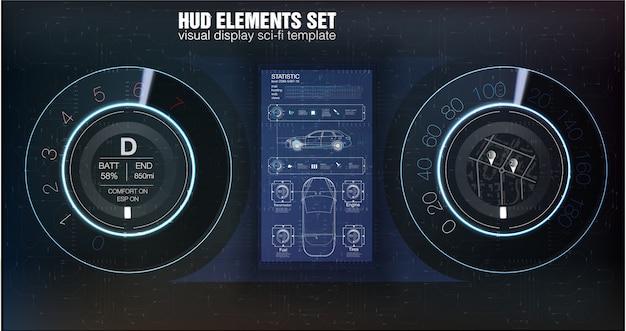 Hudダッシュボード。抽象的な仮想グラフィックタッチユーザーインターフェイス。未来的なユーザーインターフェイスhudとインフォグラフィックの要素。