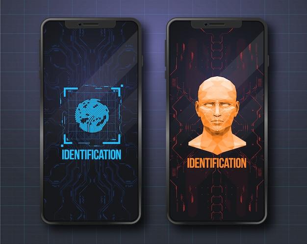 顔スキャンの概念。未来のhudインターフェイスを備えた生体認証id。スキャン技術の概念図。識別システム。