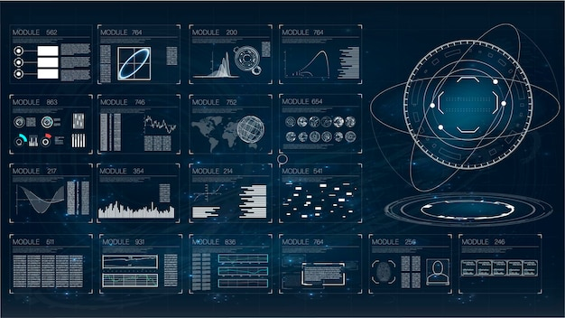 Hud. illustration with hud for game background design. digital data, business abstract