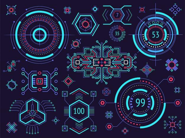 Hud инфографики элементы. head-up элементы отображения для интернета и приложений. футуристический пользовательский интерфейс.