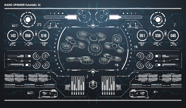 Hud infographic elements with hand spinner. futuristic user interface. abstract virtual graphic.