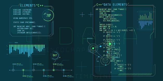 Элементы интерфейса hud с частью кода c plus plus.