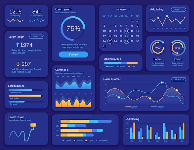 Hudインターフェース。データ表示、統計グラフ、メニュー、カレンダーを備えた未来的なui画面。ダッシュボード情報パネルと要素ベクトルテンプレート。プレゼンテーション構造チャートレポートメニューの図