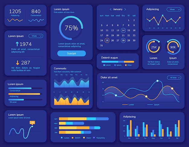 Hud interface. futuristic ui screen with data display, statistic graphs, menu and calendar. dashboard info panel and element vector template. presentation structure chart report menu illustration