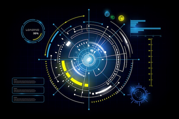 Hud interface gui futuristic technology networking background