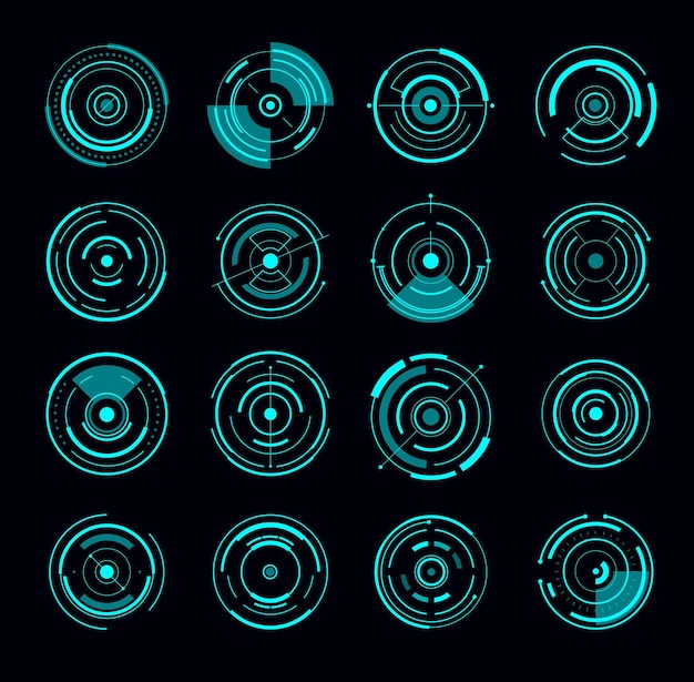 Hud interface round radar futuristic circle. game interface elements