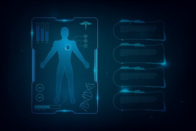 Hud interface virtual hologram future system health care innovation background