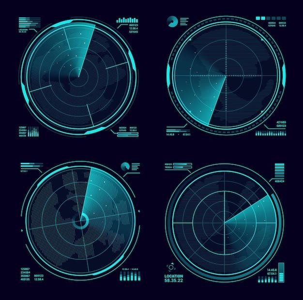 Hud военный радар или сонар с синим неоновым дисплеем. интерфейс армейского радара, векторные экраны спутниковой навигационной техники или системы военного оружия, современные радиолокационные системы сканирования территории, поиск целей