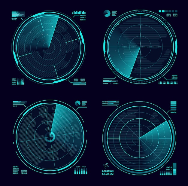 Hud military radar or sonar blue neon display. army radar interface, satellite navigation technology vector screens or military weapon system, modern radar scanning territory, searching for targets