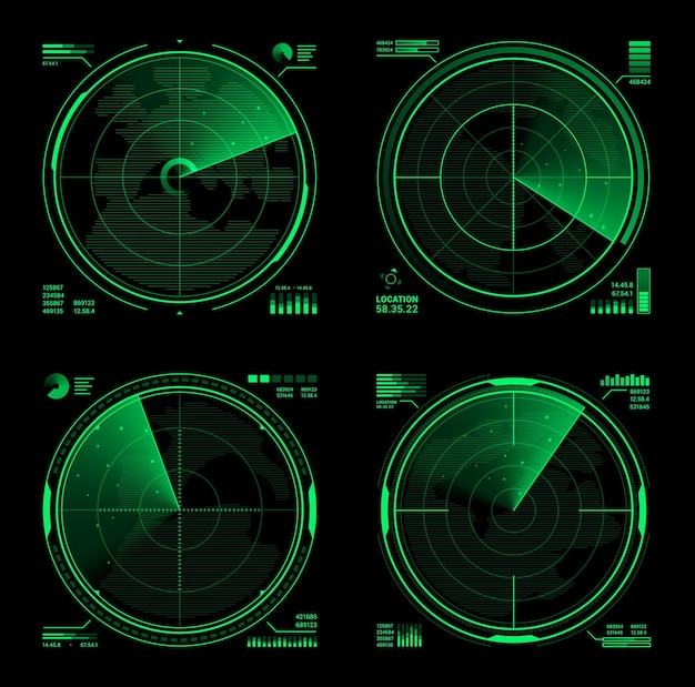 Hud military radar or vector navy sonar display screen interface of navigation system. futuristic digital head up display of army search technology, green neon grid of detection equipment