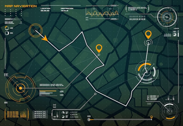 Hud navigation city map screen interface compass