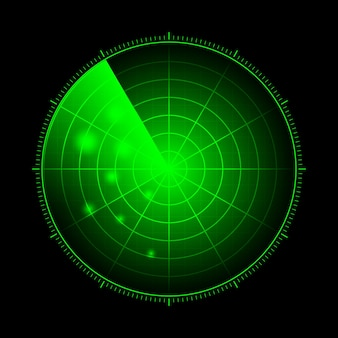 Hud radar with targets in action. military search system, vector illustration