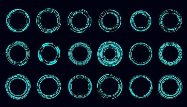 Hudラウンドフレームとボーダー、照準制御とデジタルインターフェイス、ベクトル。 hudテクノロジーと将来のテクノロジーゲーム、ターゲットボーダーとホログラムフレーム、ユーザーデータui表示ボタンとレーダー