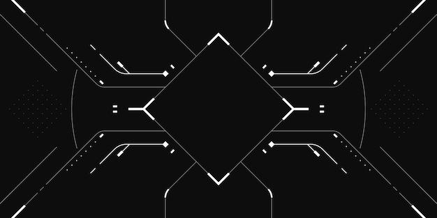 Hud экран sci fi кибер черный и белый фон