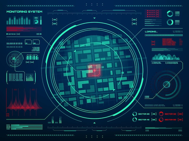 Hud security monitoring system technology. secret service, police or army control center screen with target movement sensor data tracking interface, radar screen, neon map and information charts