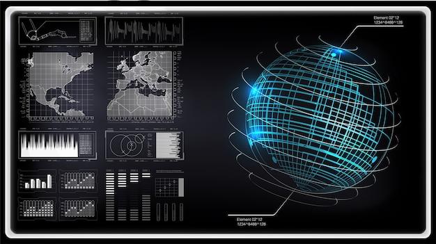 Hudセット。 (ビジネス、医学、外国為替、金融、分析)の技術要素
