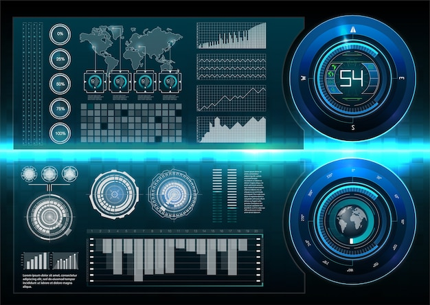 Hudスタイル。大きなハッドセット。科学の要約。 。未来的なユーザーインターフェース。 sky-fihud。 Premiumベクター