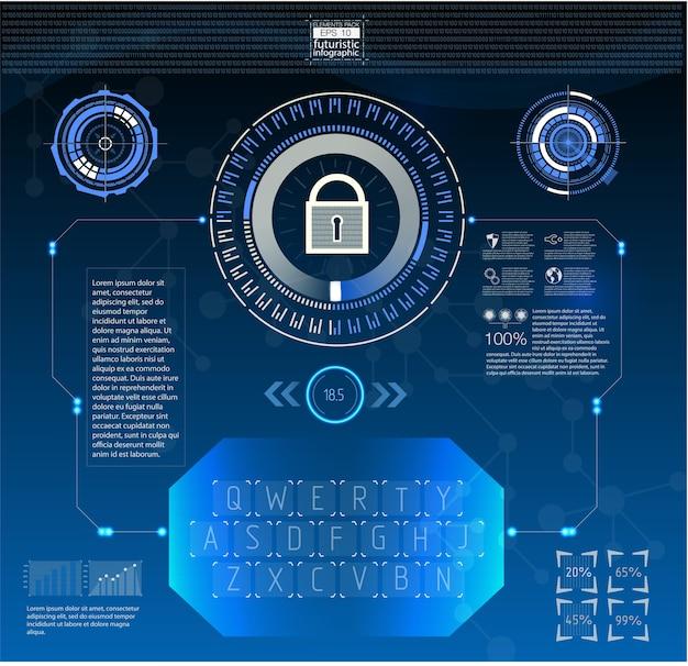 Стиль hud в иллюстрации сетевой безопасности.