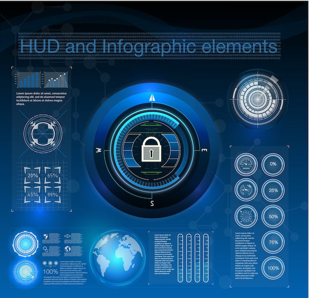 Hud style in network security  illustration. infographic elements.