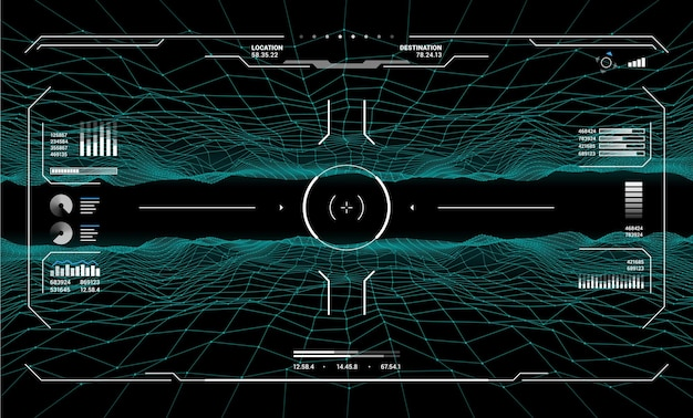 Hud target aim controls on futuristic screen interface, vector dashboard background. hud target aims on radar screen, game dashboard and ui panel controls with crosshair technology