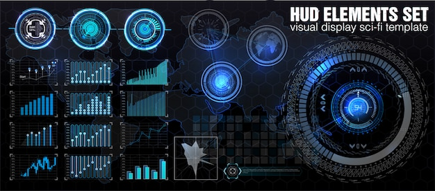 Hud ui. abstract virtual graphic touch user interface. infographic.  science abstract.   illustration. futuristic user interface.graphic display control the pallet rocket. sky-fi hud.