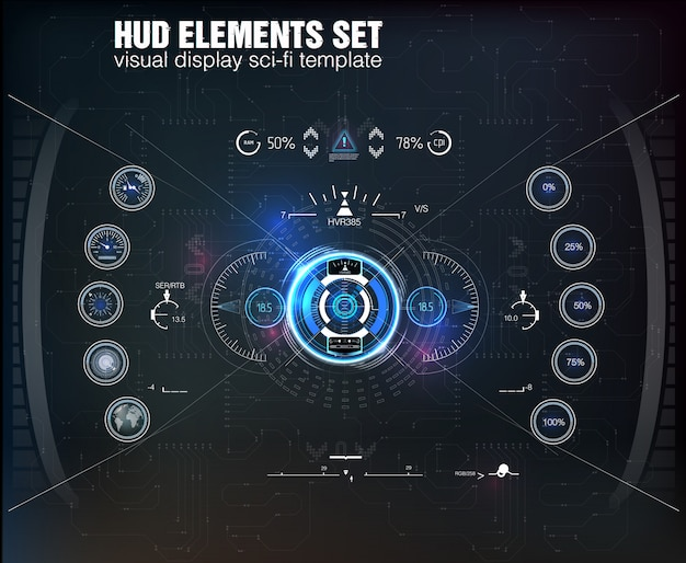 Hud ui. abstract virtual graphic touch user interface. infographic.  science abstract.   illustration. futuristic user interface.graphic display control the pallet rocket. sky-fi hud.   .
