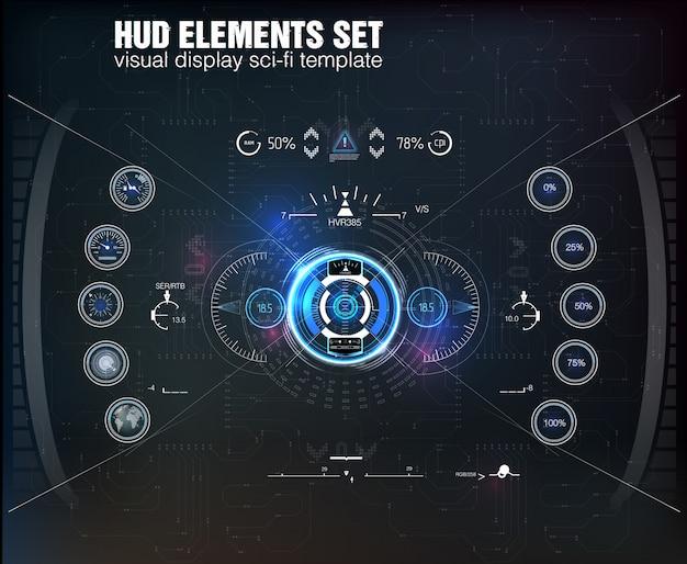 Hud ui。抽象的な仮想グラフィックタッチユーザーインターフェイス。インフォグラフィック。サイエンスアブストラクト。図。未来的なユーザーインターフェイス。グラフィックディスプレイはパレットロケットを制御します。 sky-fi hud。 。