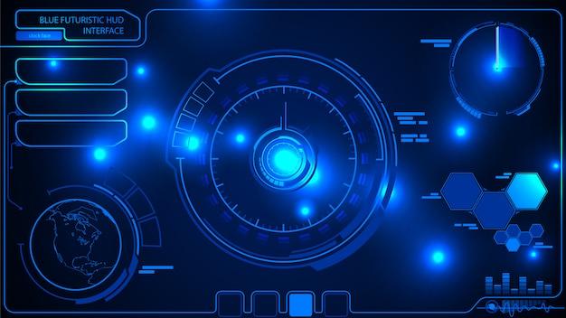 Hud ui。デジタル未来的なユーザーインターフェイス。未来的なhudインターフェース
