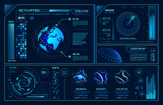未来のhudインターフェイス、未来のホログラムuiインフォグラフィック、インタラクティブなグローブとサイバースカイfi画面の背景