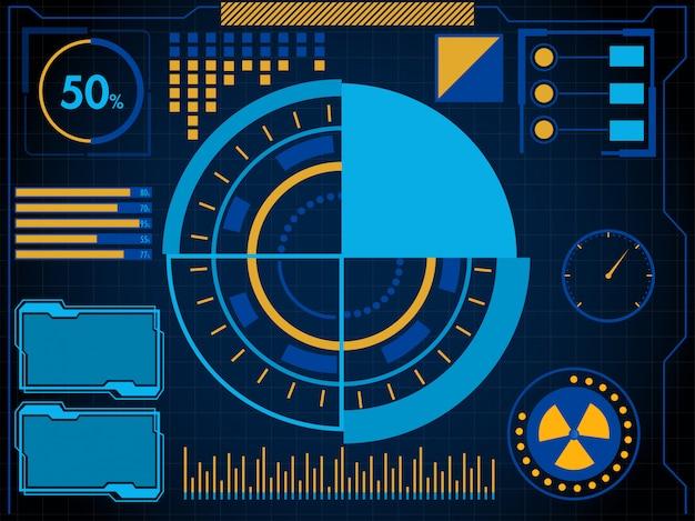 ビジネスアプリのhud ui。青色の背景に未来的なユーザーインターフェイスhudとインフォグラフィック要素。