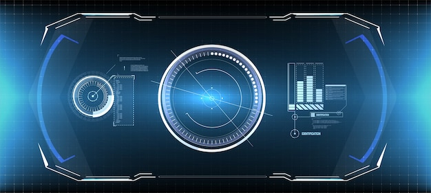 Hud uiguiの未来的なユーザーインターフェイス画面要素セット。ビデオゲーム用のハイテク画面。サイエンスフィクションの概念。