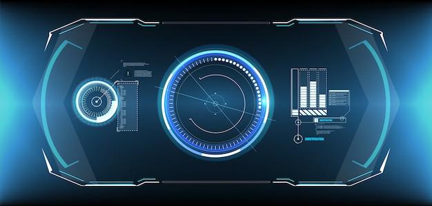 Hud uiguiの未来的なユーザーインターフェイス画面要素セット。ビデオゲーム用のハイテク画面。