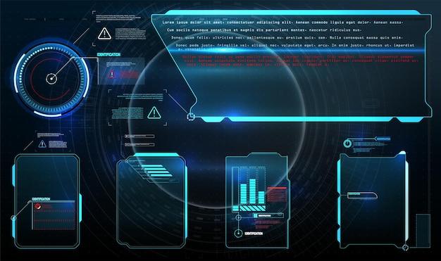 Hud, ui, gui 미래형 사용자 인터페이스 화면 요소 세트. 비디오 게임을위한 첨단 화면.