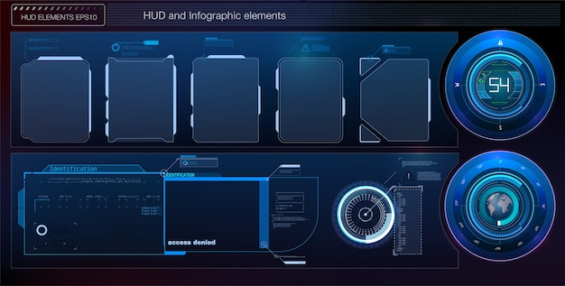 Hud ui gui futuristic user interface screen elements set. high tech screen for video game. sci-fi concept .