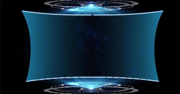 Hud, ui, gui 미래형 사용자 인터페이스 화면 요소 세트. 공상 과학 컨셉 디자인.