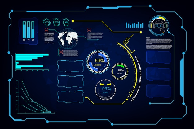 抽象的なhud ui gui未来未来スクリーンシステム仮想背景