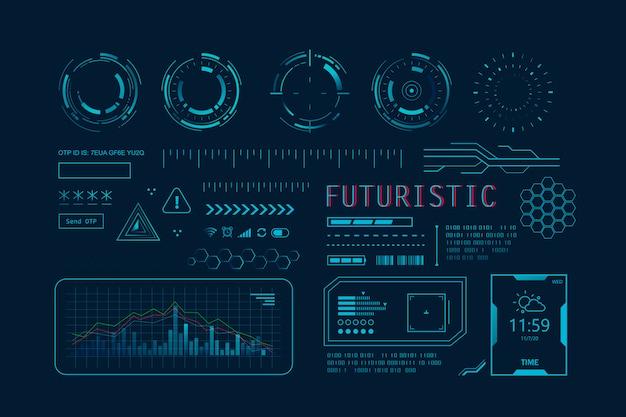 アプリ用の未来的なhud ui。ユーザーインターフェイスは、hudとインフォグラフィック要素、仮想グラフィック、シミュレーションを設定します。