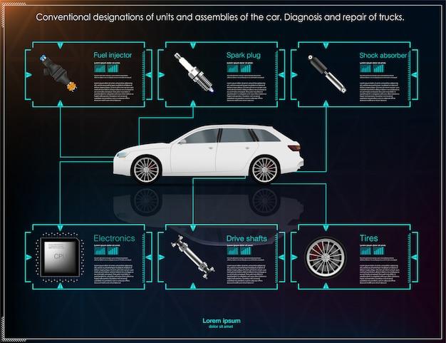 未来のユーザーインターフェイス。 hud ui。抽象的な仮想グラフィックタッチユーザインタフェース。車inf