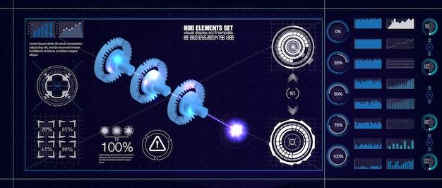 Hud uiスタイル。産業用エアロスペースの青写真。インフォグラフィックを使用した将来のエンジニアリングとメカニズムの一部を備えたjetエンジン統計の図。 hudセット。