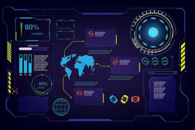 Абстрактный будущее hud ui интерфейс интерфейса экрана привет технологий фона t