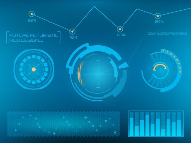 未来的なテクノロジーインターフェースhud ui。
