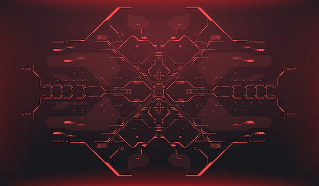 Hud uiの背景。レーダーインターフェイス。宇宙船ハイテク画面コンセプト。