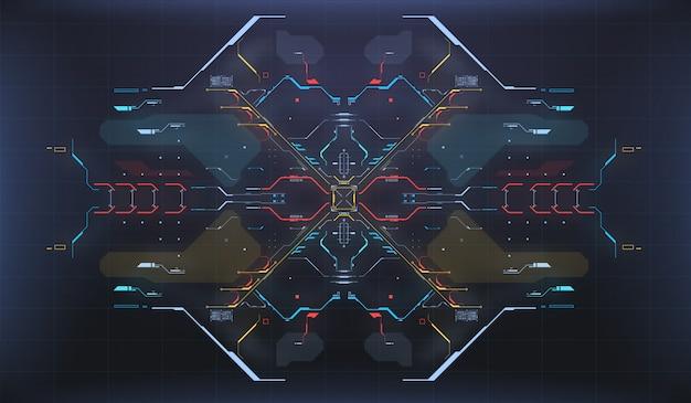 Hud ui фон. радарный интерфейс. космический корабль высокотехнологичный экран концепции.