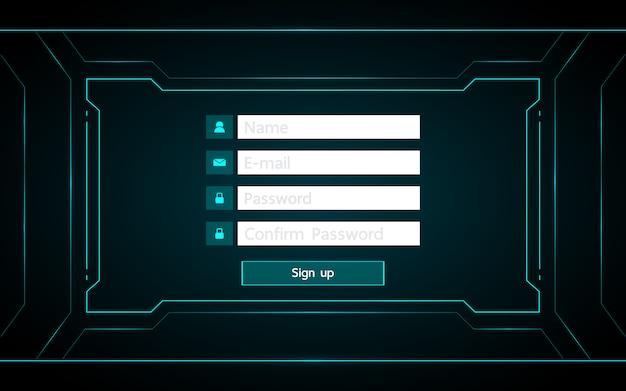技術の未来的なインターフェイスのhudの背景にuiデザインをサインアップします。
